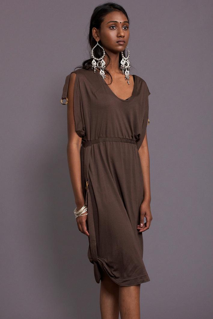 Kleid aus Jersey mit V-Ausschnitt