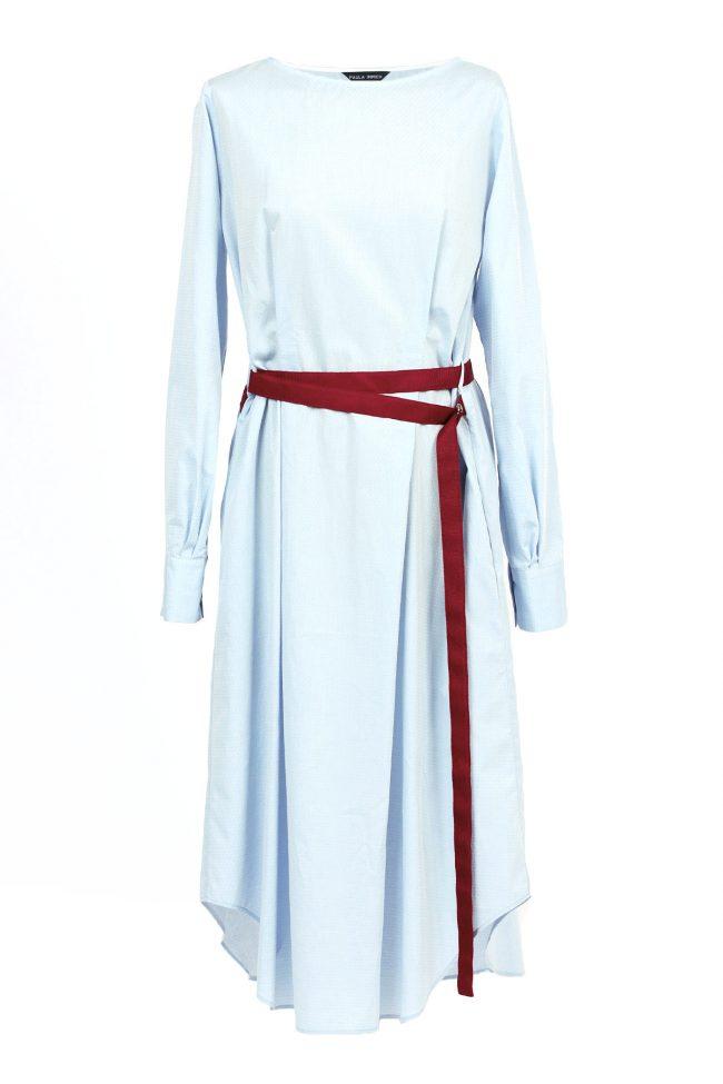 Longue robe chemise bleue claire