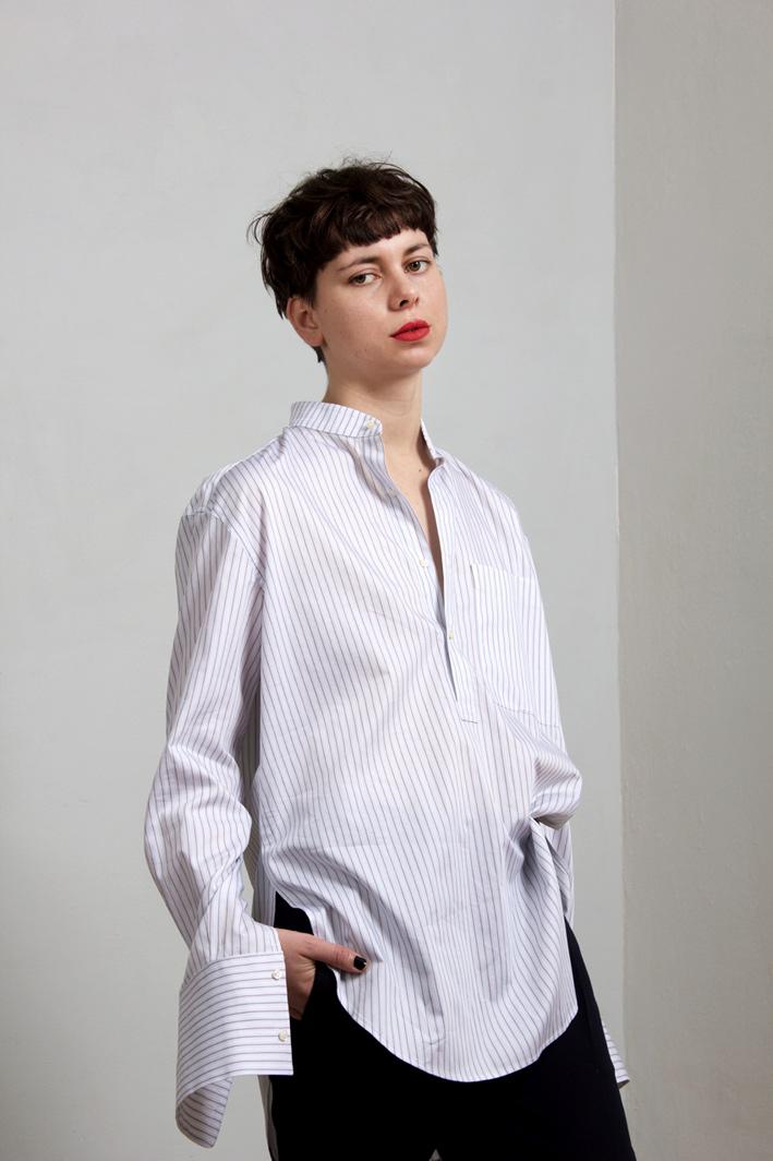 paula immich oversized boyfriend Hemd weiss mit streifen