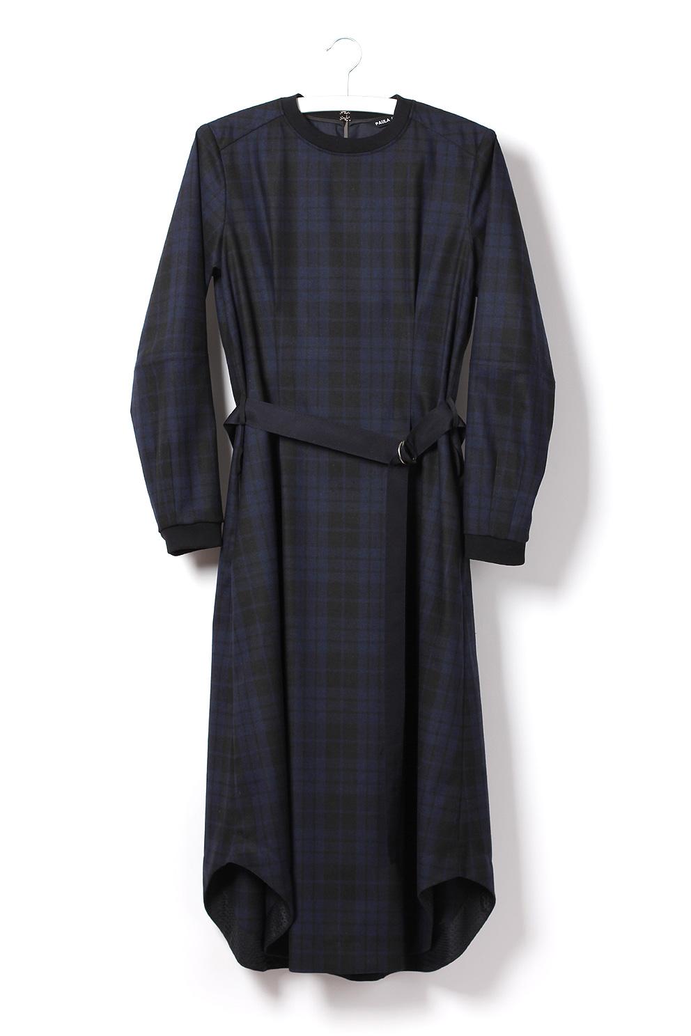 Langes Kleid aus Woll-Flanell mit Karo Muster-navy von Paula Immich