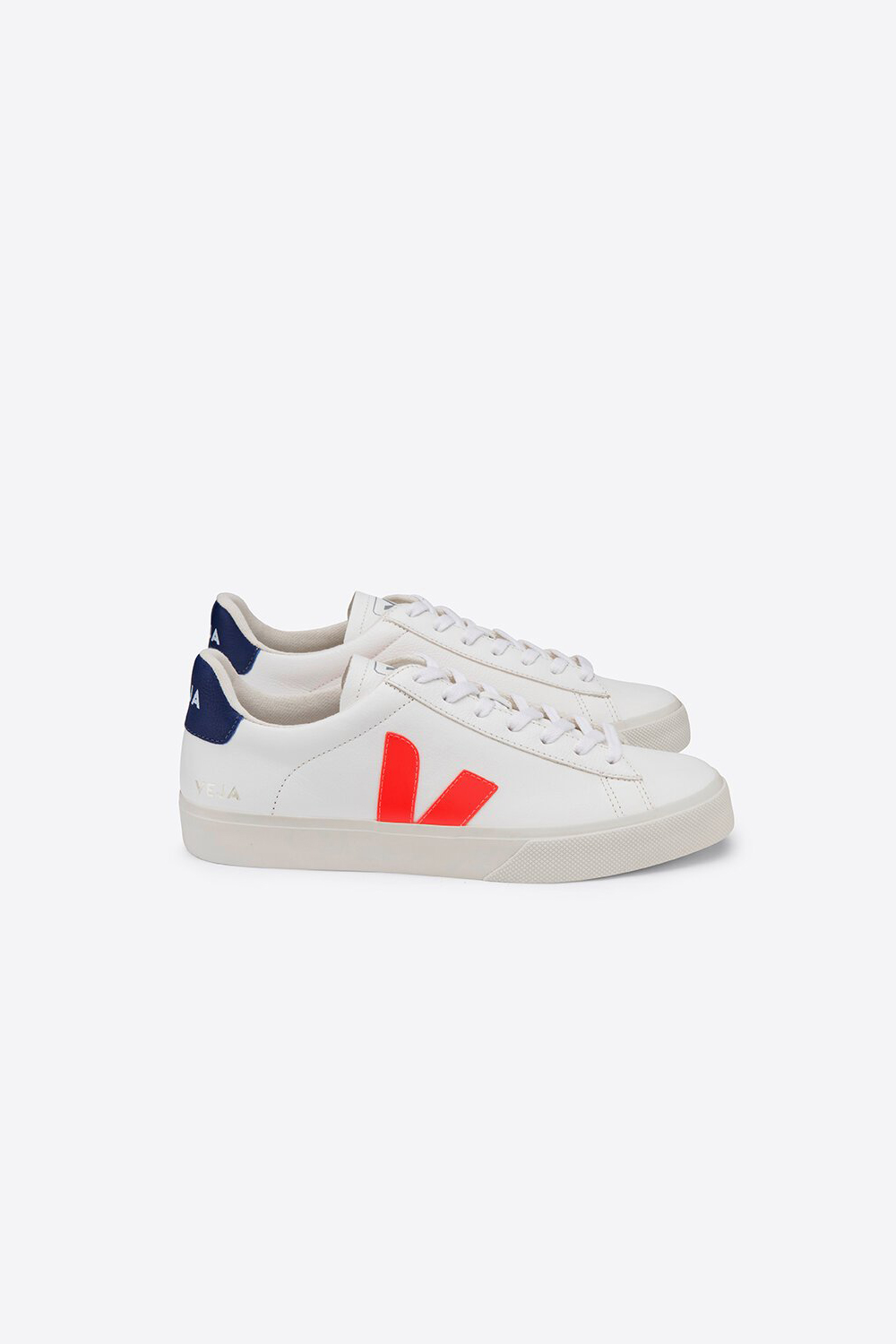 Veja Campo Chromefree Leather - White Orange Fluo Cobalt