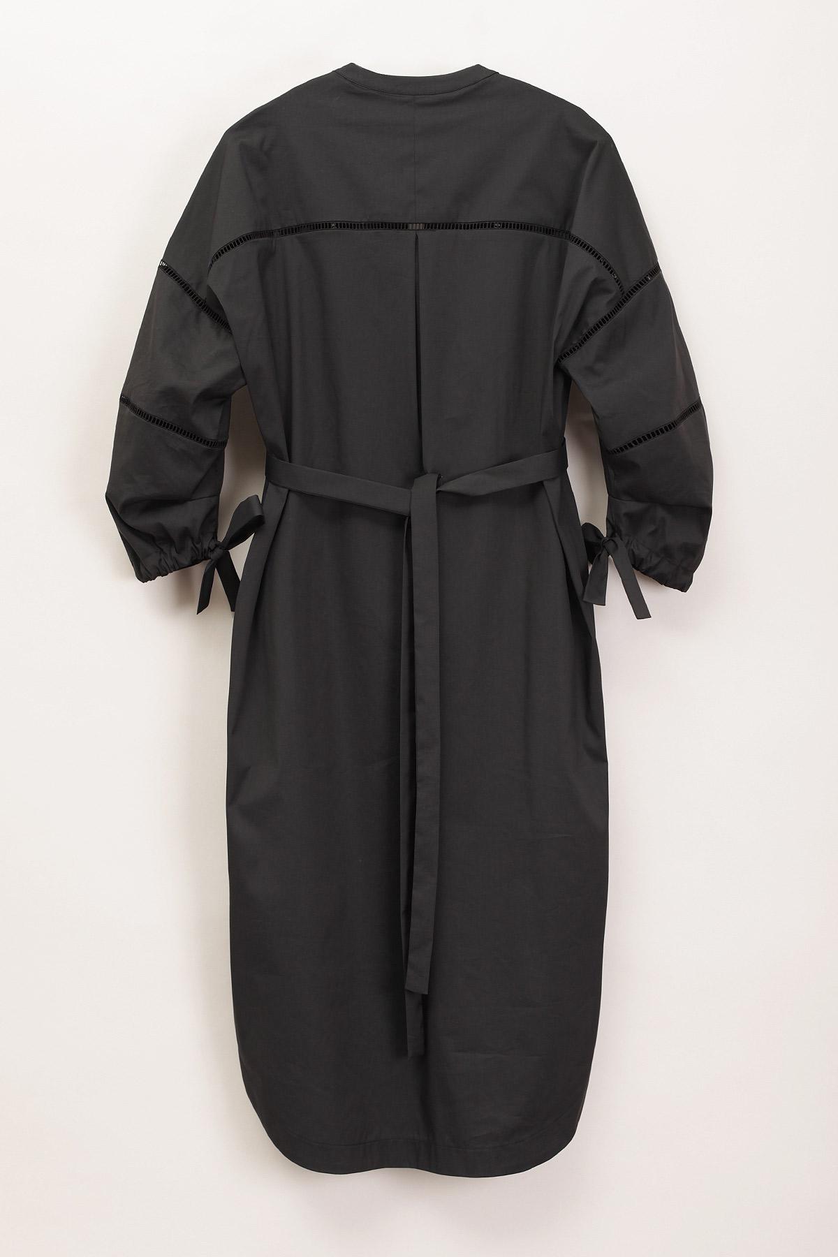 paula-immich-Kleid aus schwarzem Baumwoll-Nylongemisch mit Hohlsaumstickerei